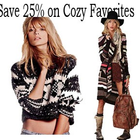Save 25% on Cozy Favorites at Free People