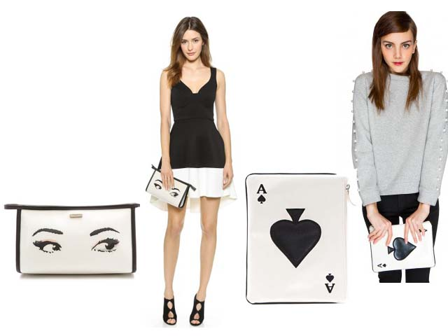 Kate Spade New York Over the Moon Rocket Clutch Moschino Cheap and Chic Bone Clutch, pixie market